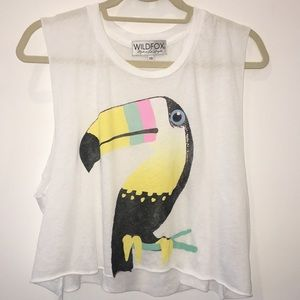 Wildfox LA Toucan Crop Muscle Tee Tank Top Size XS